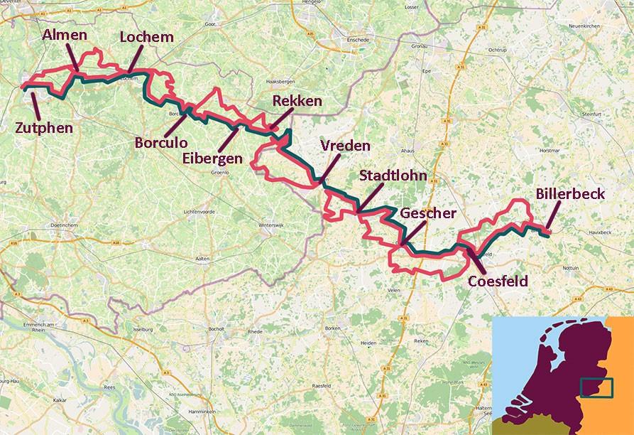 kaart fietsroute door het land van de Berkel