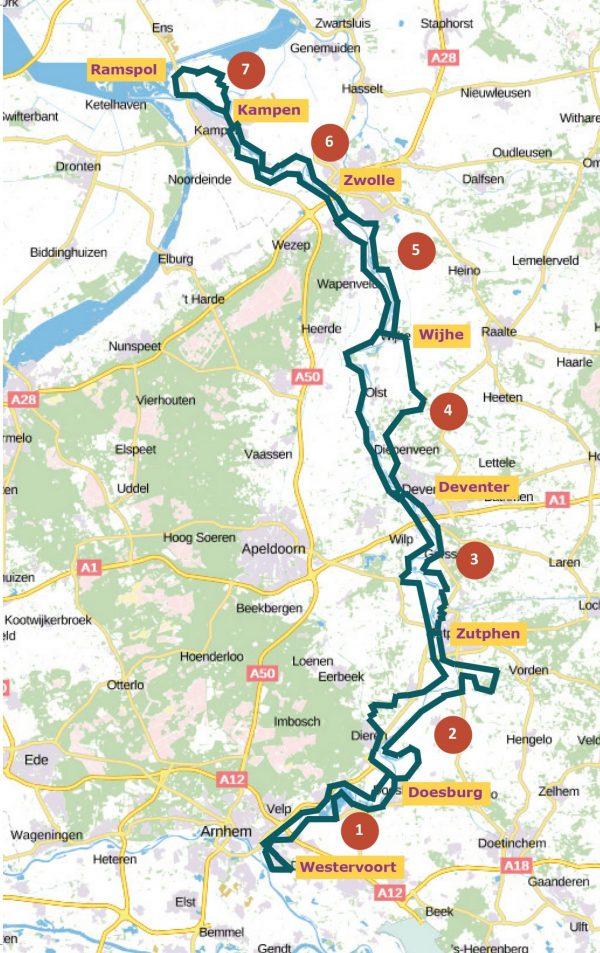 kaart met etappes van Fietsen langs de IJssel