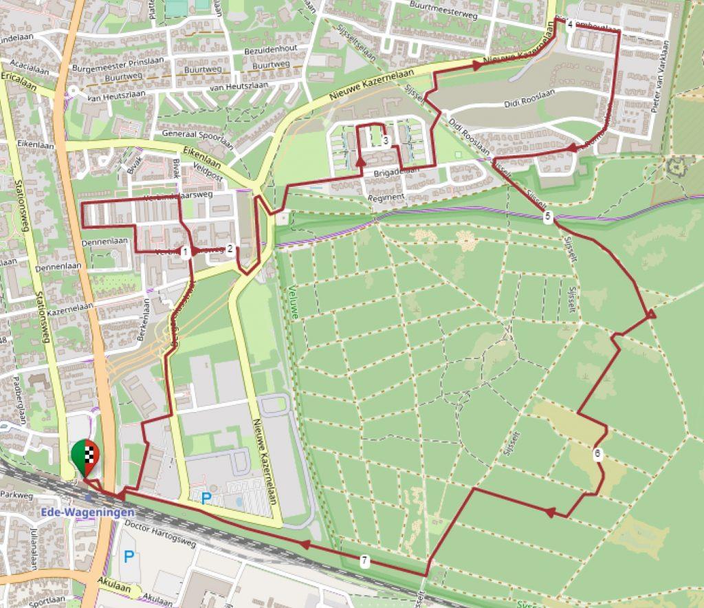 Kaart met aangepaste wandelroute garnizoensstad Ede